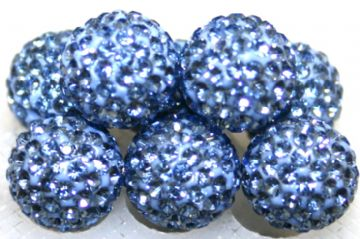 12mm Powder Blue 130 Stone  Pave Crystal Beads- Half Drilled  PCBHD12-130-021
